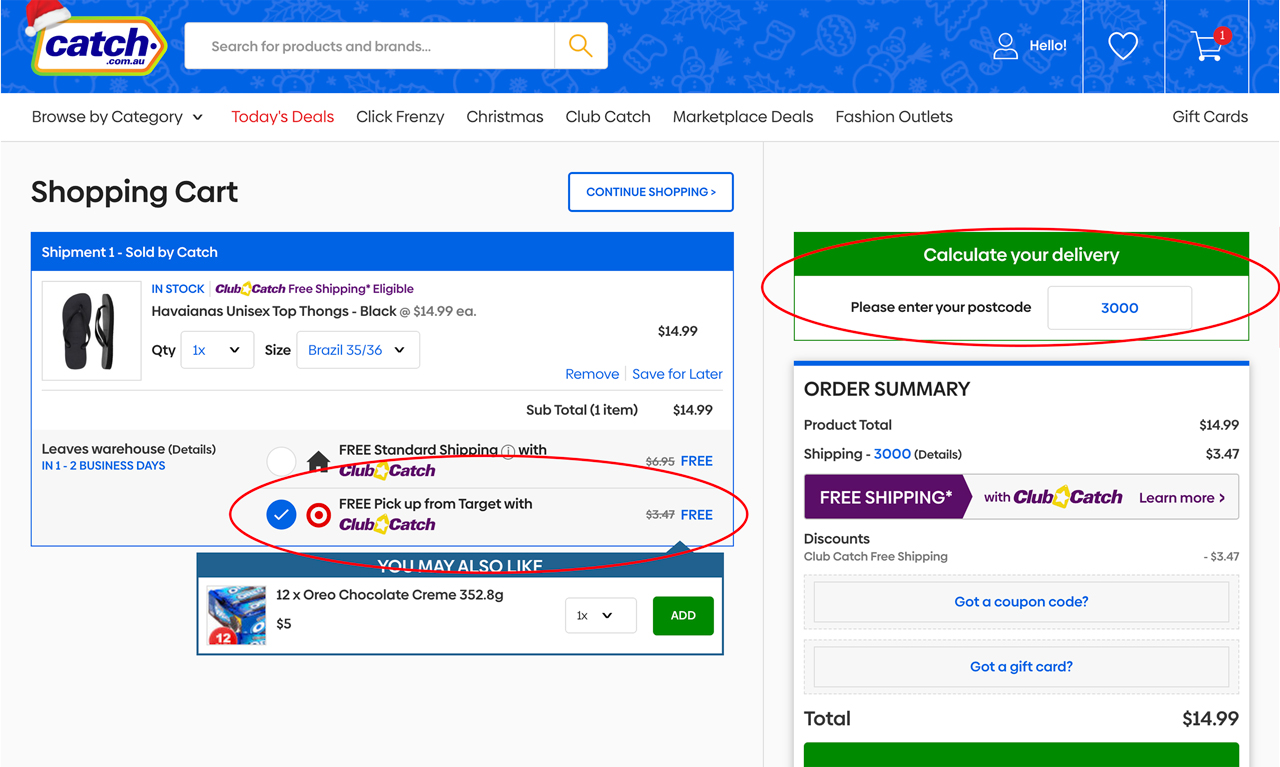 Image of Catch Cart Page highlighting FREE Pick Up from Target is available
