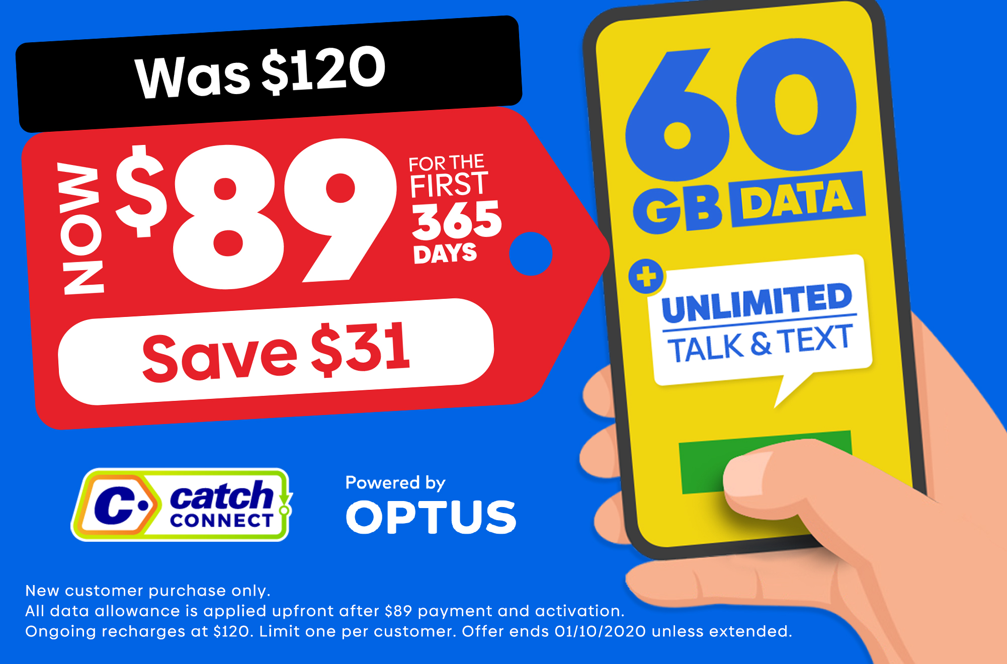 Big Gigs. Call, text, download, stream, repeat! Catch Connect | Powered by Optus
