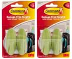 2 x 3M Command Damage-Free Hanging Hooks 2-Pack - New Leaf 1