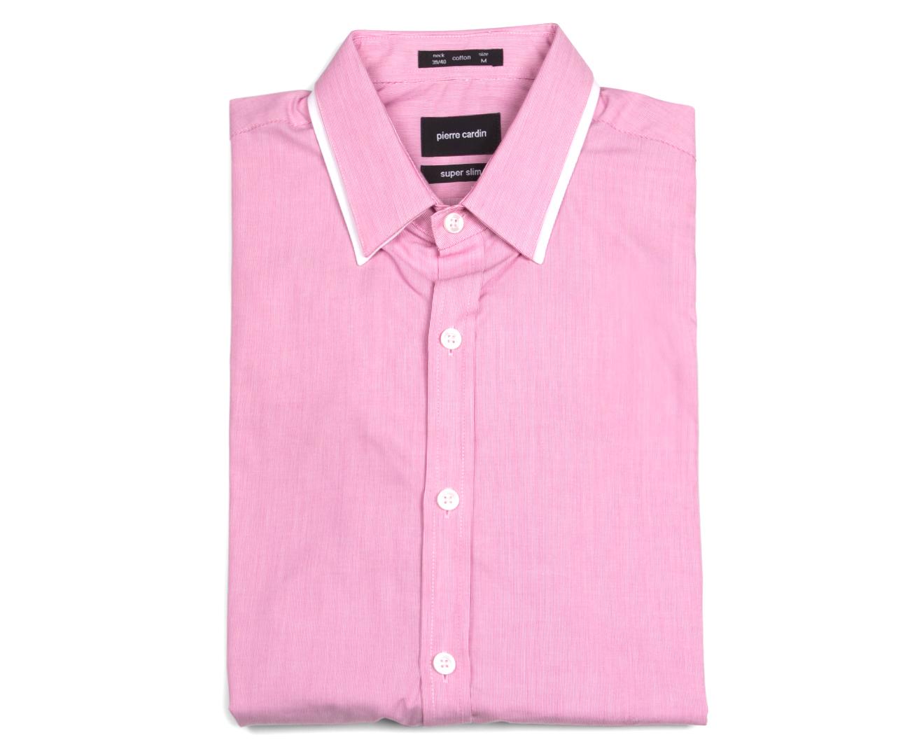 Pierre Cardin Mens Pinstripe Shirt Candy Pink Catch