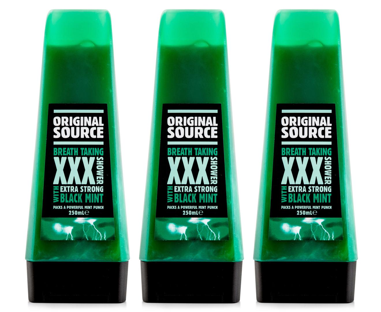 3 X Original Source Shower Gel Xxx Black Mint 250ml