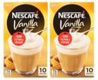 2 x Nescafé Vanilla Latté Sachets 185g 10pk 1