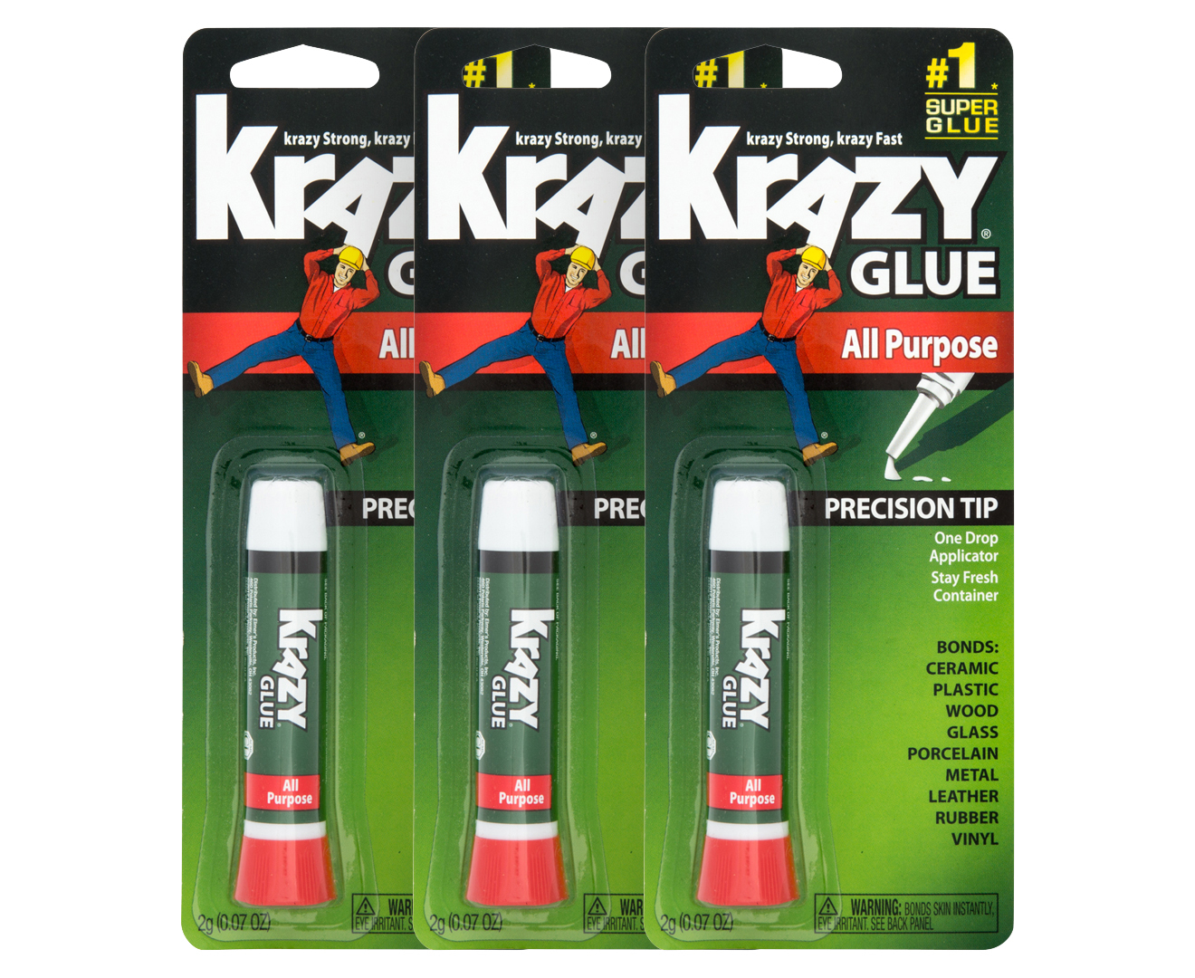 3 X All Purpose Krazy Glue 2g Ebay