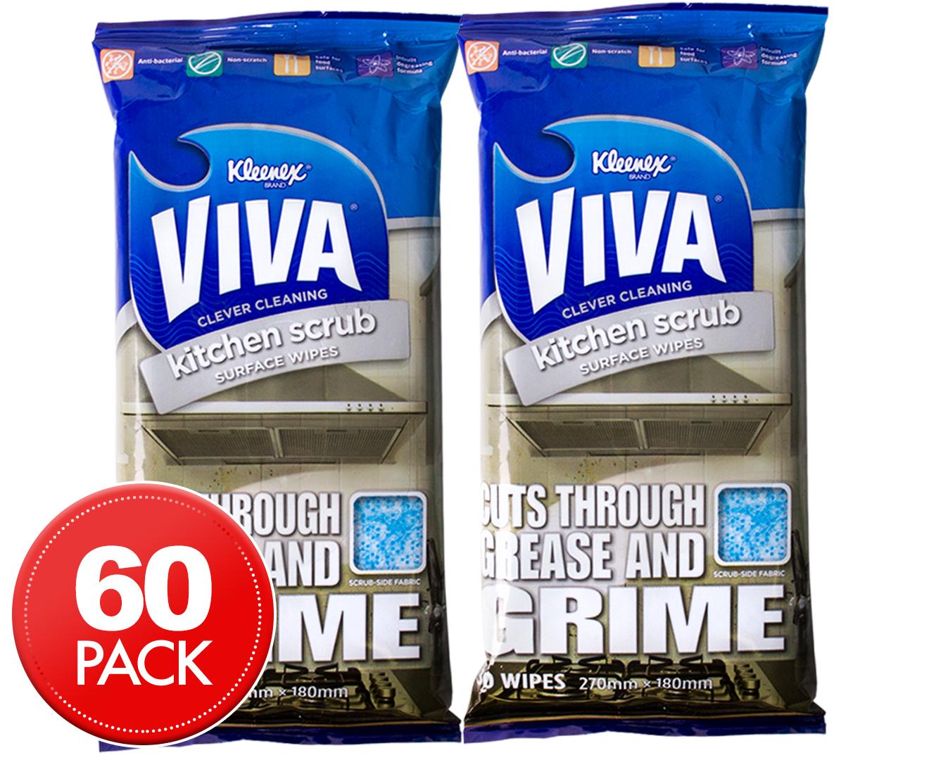 2 X Kleenex VIVA Kitchen Scrub Wipes 30pk