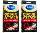 2 x Scholl Odour Attack Everyday Insoles 1 Pair 1