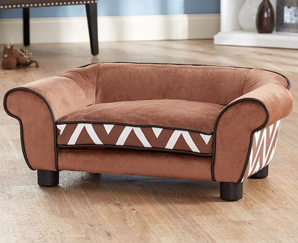 Enchanted Home Plush Couch Pet Bed Brown