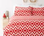 In 2 Linen Ikat Queen Quilt Cover Set - Red 1
