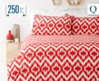 In 2 Linen Ikat Queen Quilt Cover Set - Red 2