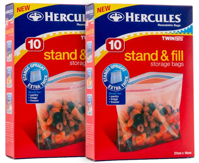 2 x Hercules Twin Zip Stand & Fill Storage Bags 10pk