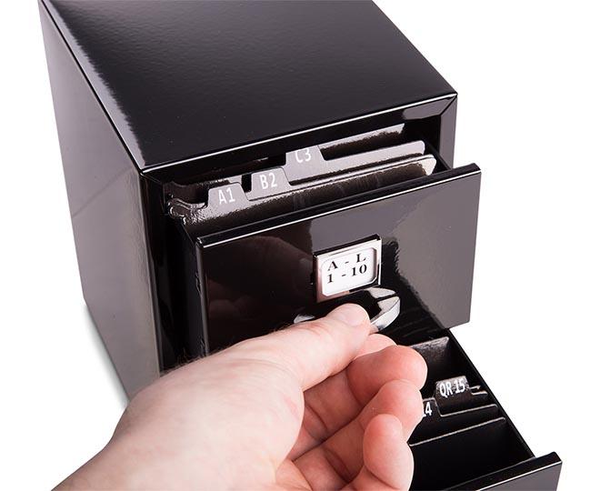 Mini Business Card 15cm Filing Cabinet Black Catch