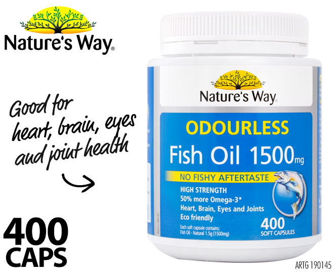 Nature 39 s way fish oil odourless 1500mg 400 caps great for Daily fish oil