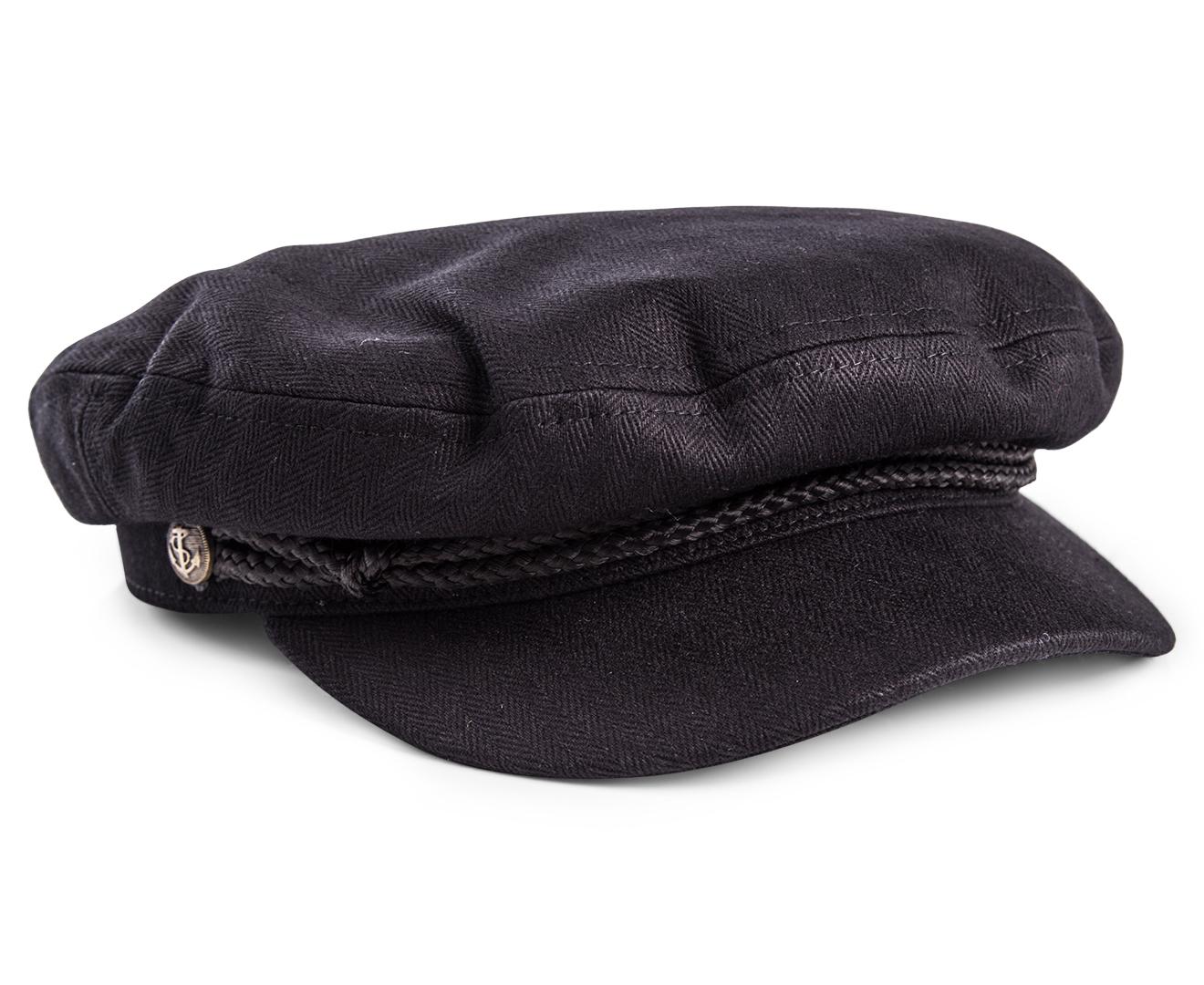 Brixton Fiddler Cap - Black Herringbone Twill  058de5aac521