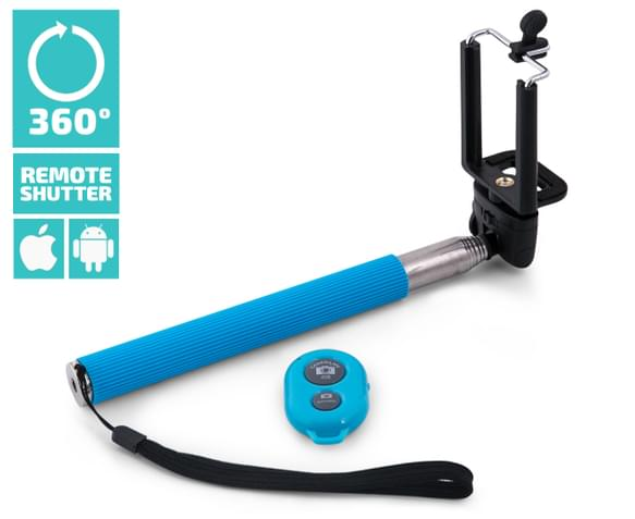 selfie stick with bluetooth shutter blue. Black Bedroom Furniture Sets. Home Design Ideas