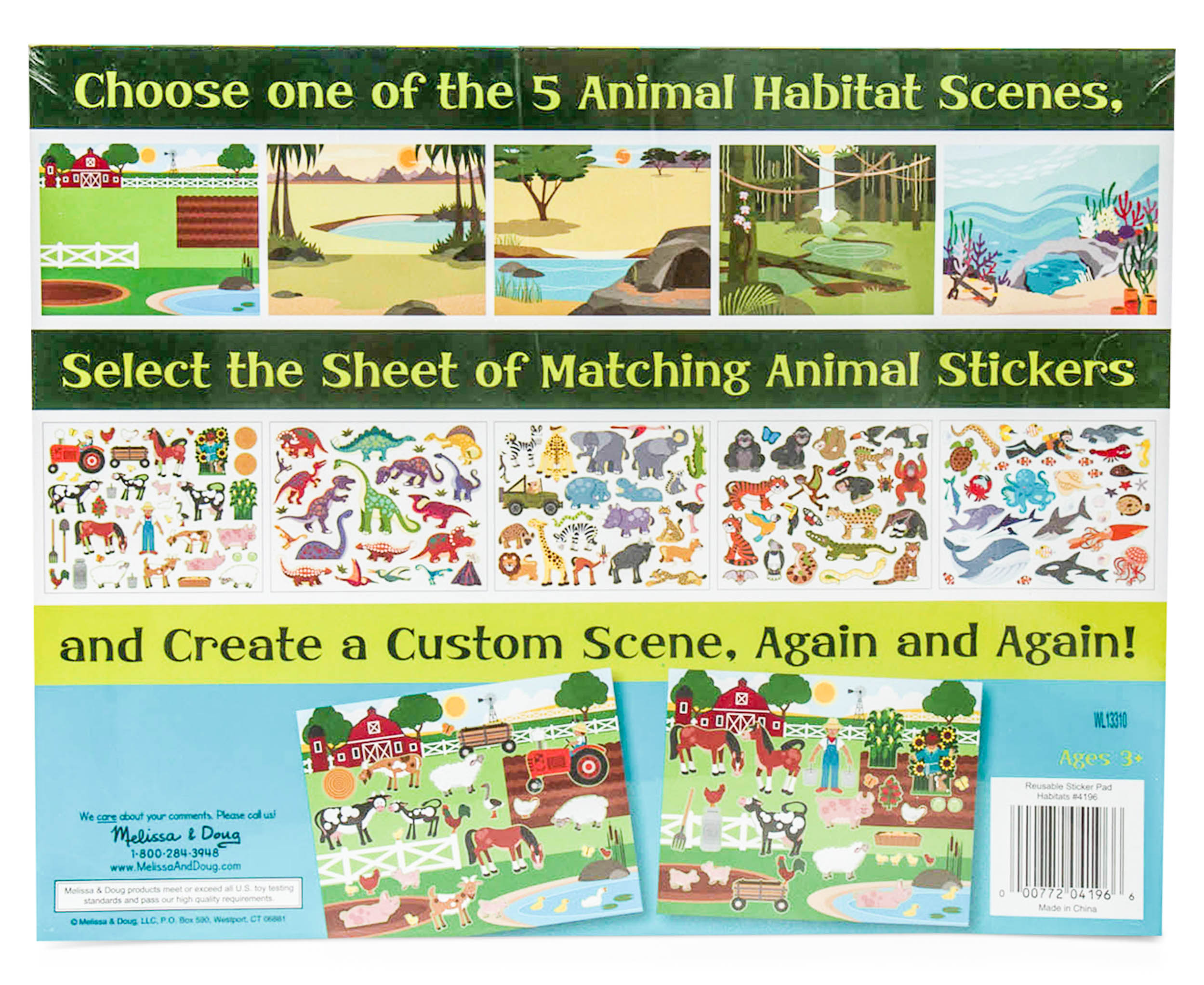 Melissa Doug Reusable Sticker Pad Habitats