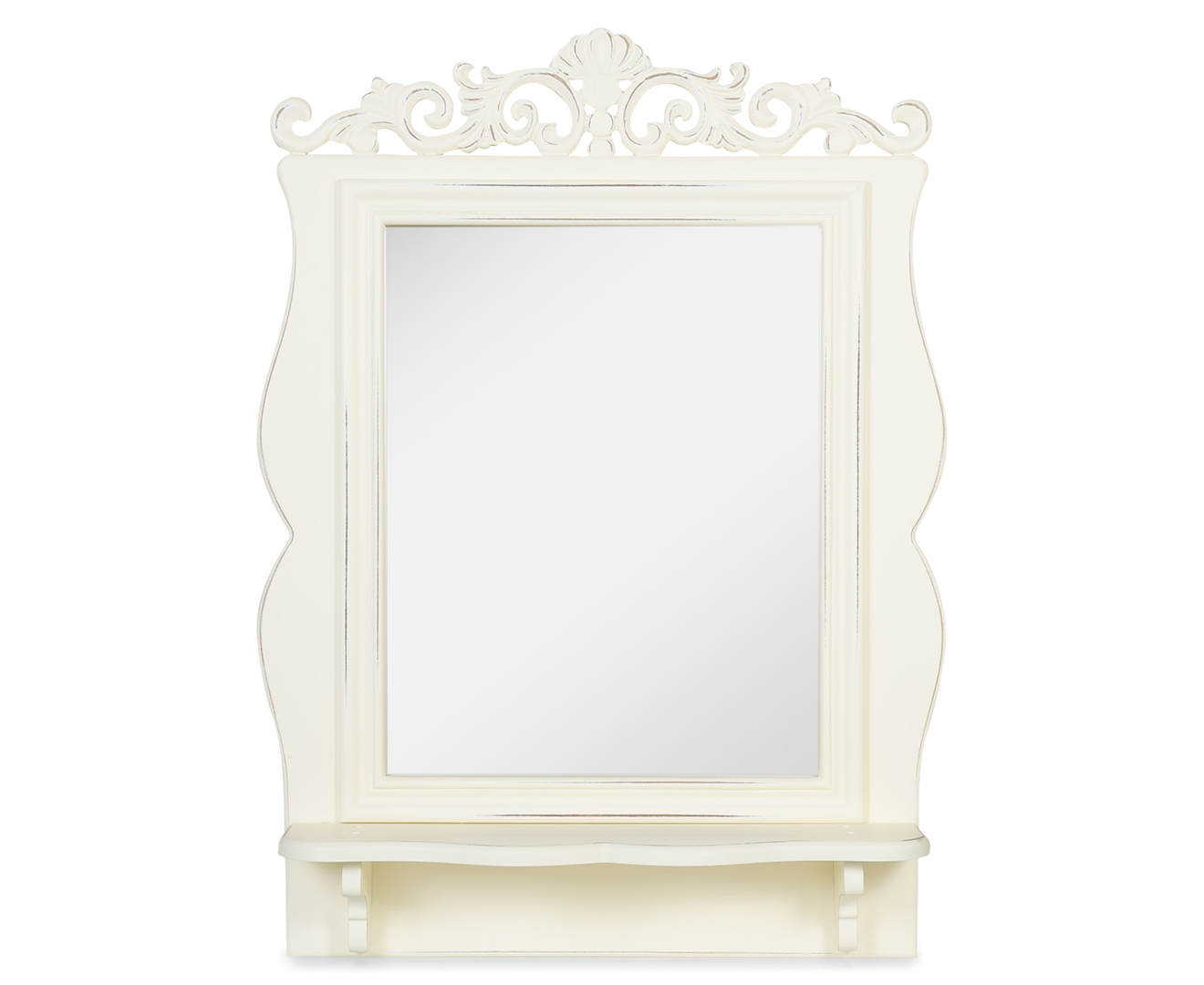 vintage 61cm baroque mirror with shelf cream great