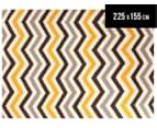 Hand Woven Indian Dhurrie 225x155cm Reversible Rug- Yellow 1