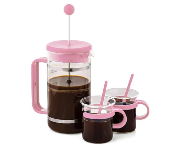 Pink French Press Coffee Maker : CatchOfTheDay.com.au BODUM Coffee Maker Set With 2 Glasses & Spoons - Pink