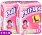 2 x Huggies Pull-Ups Training Pants Size 2 Girls 8-15kg 17pk 1