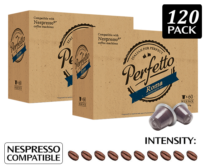 2 x perfetto roma nespresso compatible coffee capsules 60pk great daily deals at australia 39 s. Black Bedroom Furniture Sets. Home Design Ideas