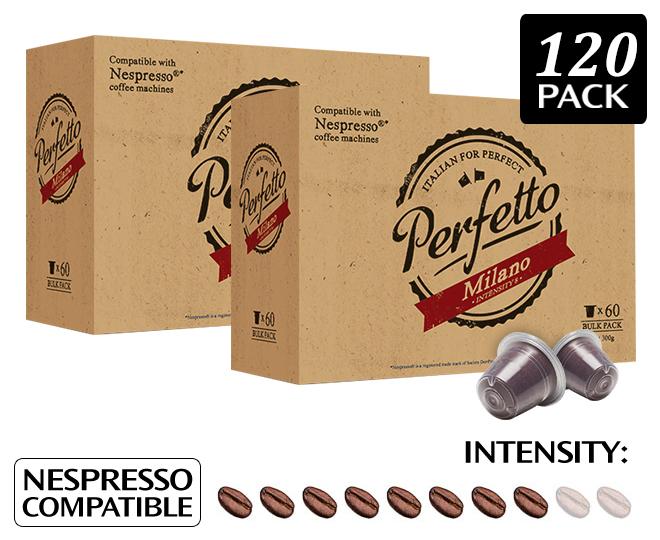 2 x perfetto milano nespresso compatible coffee capsules for Porte 60 capsules nespresso