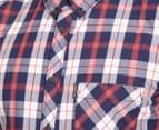 Ben Sherman Men's Short Sleeve Check Shirt - Blue/Red 4