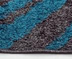 Aztec Diamond 230x160cm Rug - Grey/Peacock Blue 3