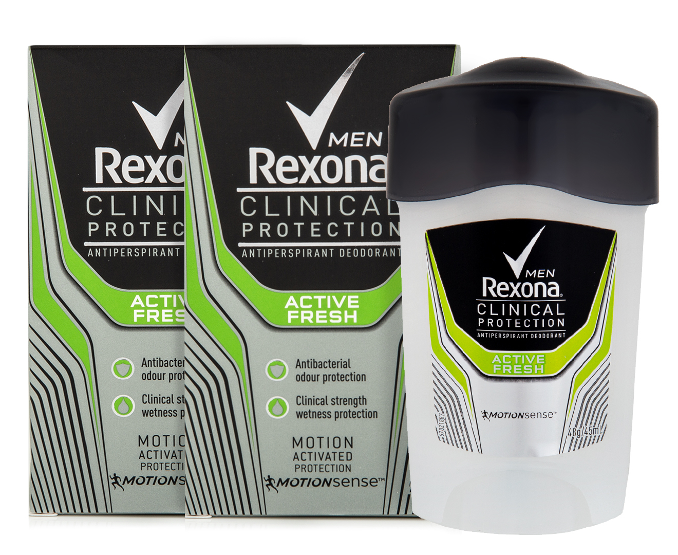 2 X Rexona Men Clinical Protection Roll On Deodorant Active Fresh Natural 50ml 45ml