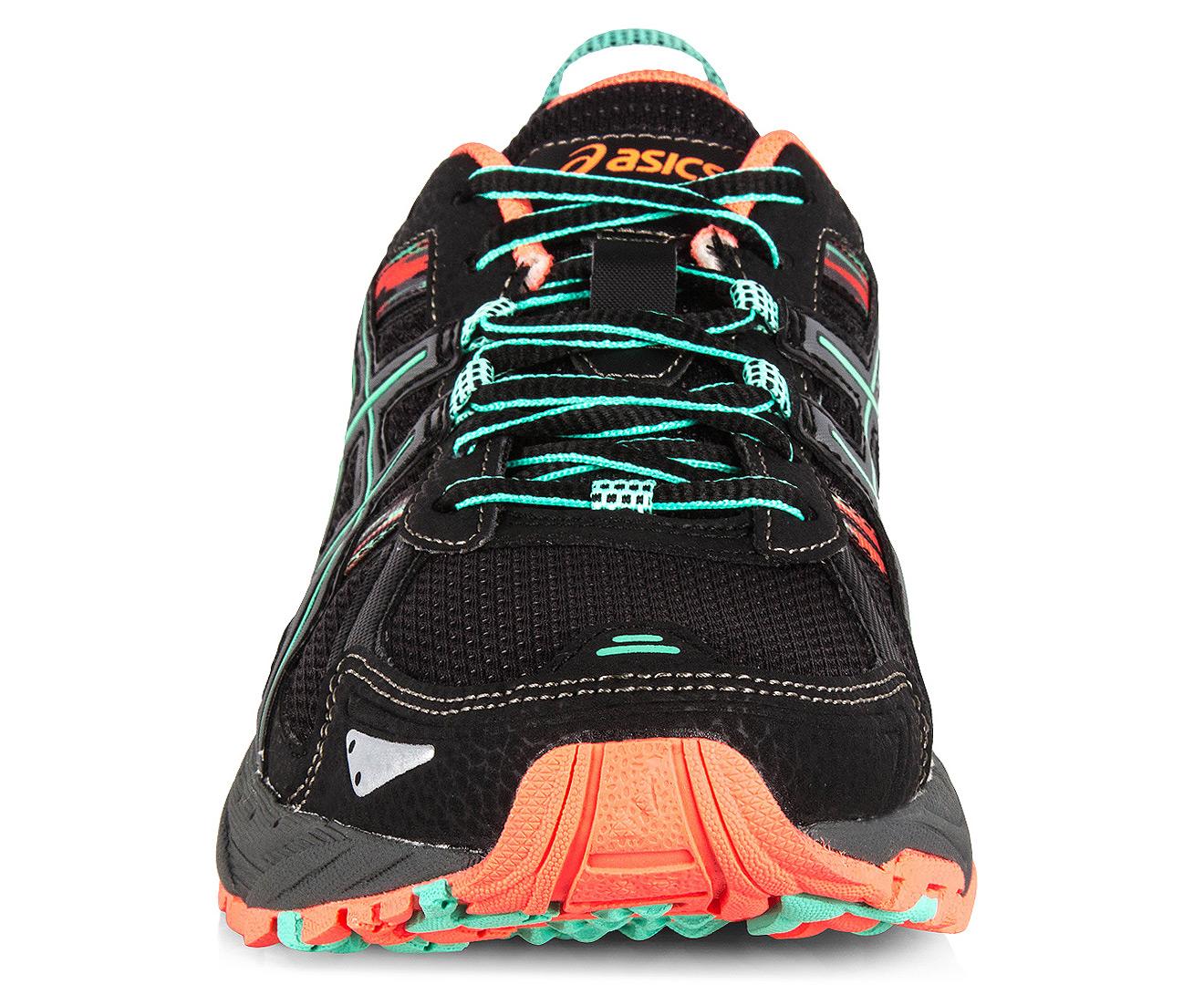 Asics Women S Gel Venture  Shoe Black Aqua Mint Flash Coral