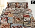 Retro Home Double Quilt Cover Set - Signs 1