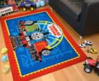 Thomas & Friends 150cm x 100cm Kids' Printed Rug - Red/Blue 2