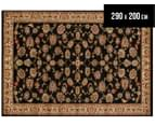 Traditional Floral Border 290x200cm Rug - Black/Ivory 1