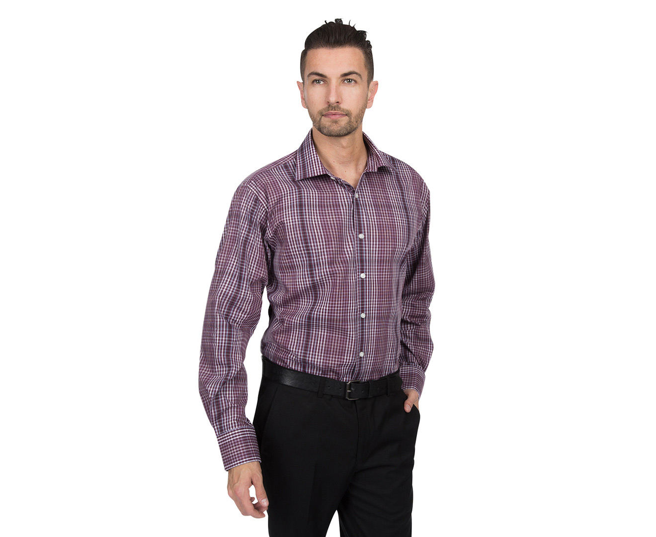 Mens Van Heusen® Slim fit stretch flex spread collar dress shirt is created slightly closer at the chest with higher armholes, trimmer sleeves and is the newest innovation from Van Heusen®. This wrinkle free shirt's collar expands up to 1/2 and inch. 67% Cotton, 29% Polyester, 4% Spandex.
