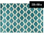 Zen Collection 220 x 150cm Trellis Rug - Blue 1