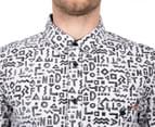 Afends Men's LiquorShort Sleeve Shirt - White Geo 5