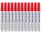 Penline Aluminium Chisel Point Permanent Marker 12-Pack - Red 1