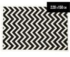 Zen Collection 220 x 150cm Chevron Rug - Black 1