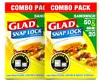 2 x Glad Snap Lock Sandwich & Mini Bags Combo 70pk 1