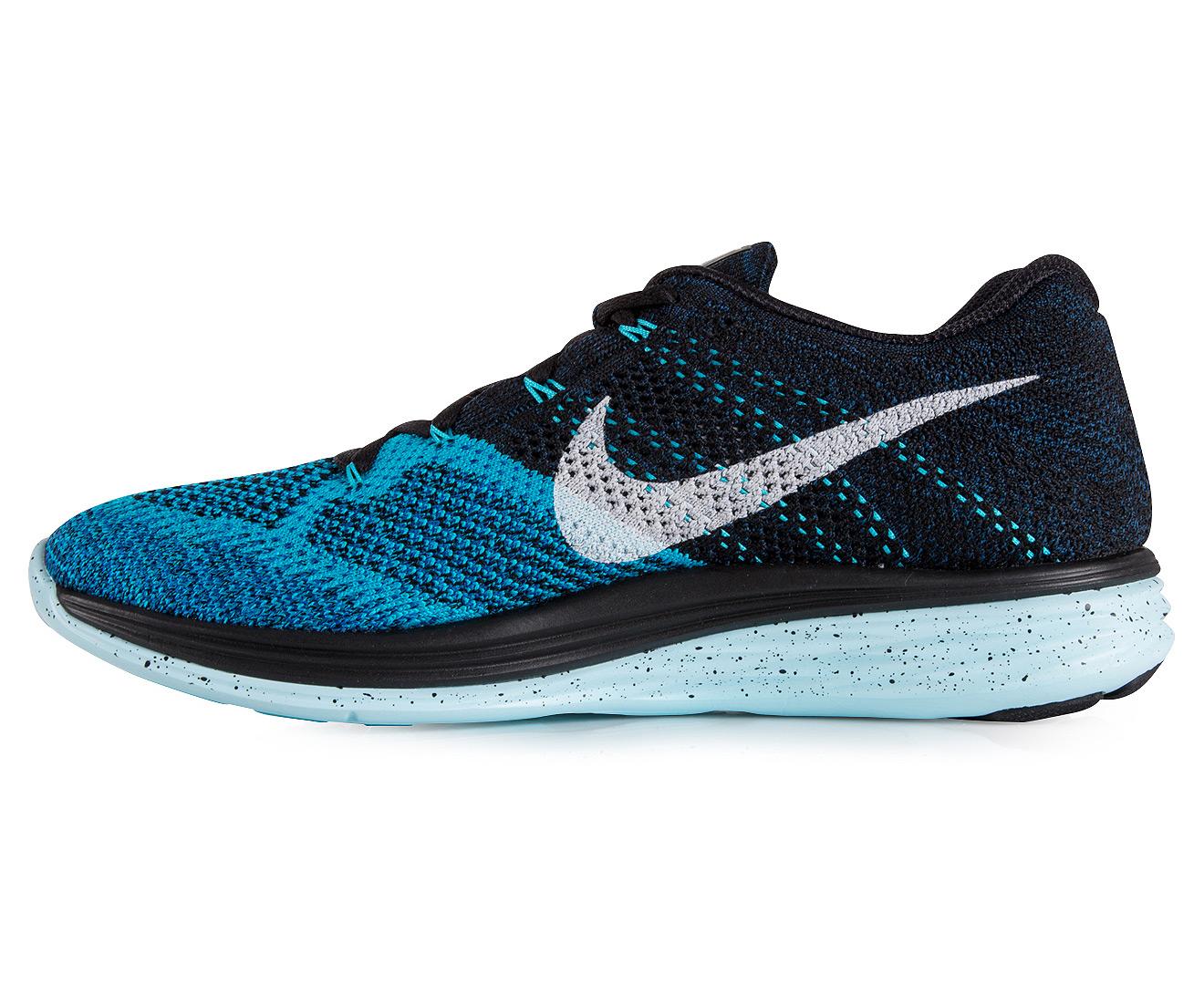 promo code 6e46f ce18a Nike Flyknit Lunar 3 Shoe - Black White-Blue Lagoon Blue   Catch.com.au