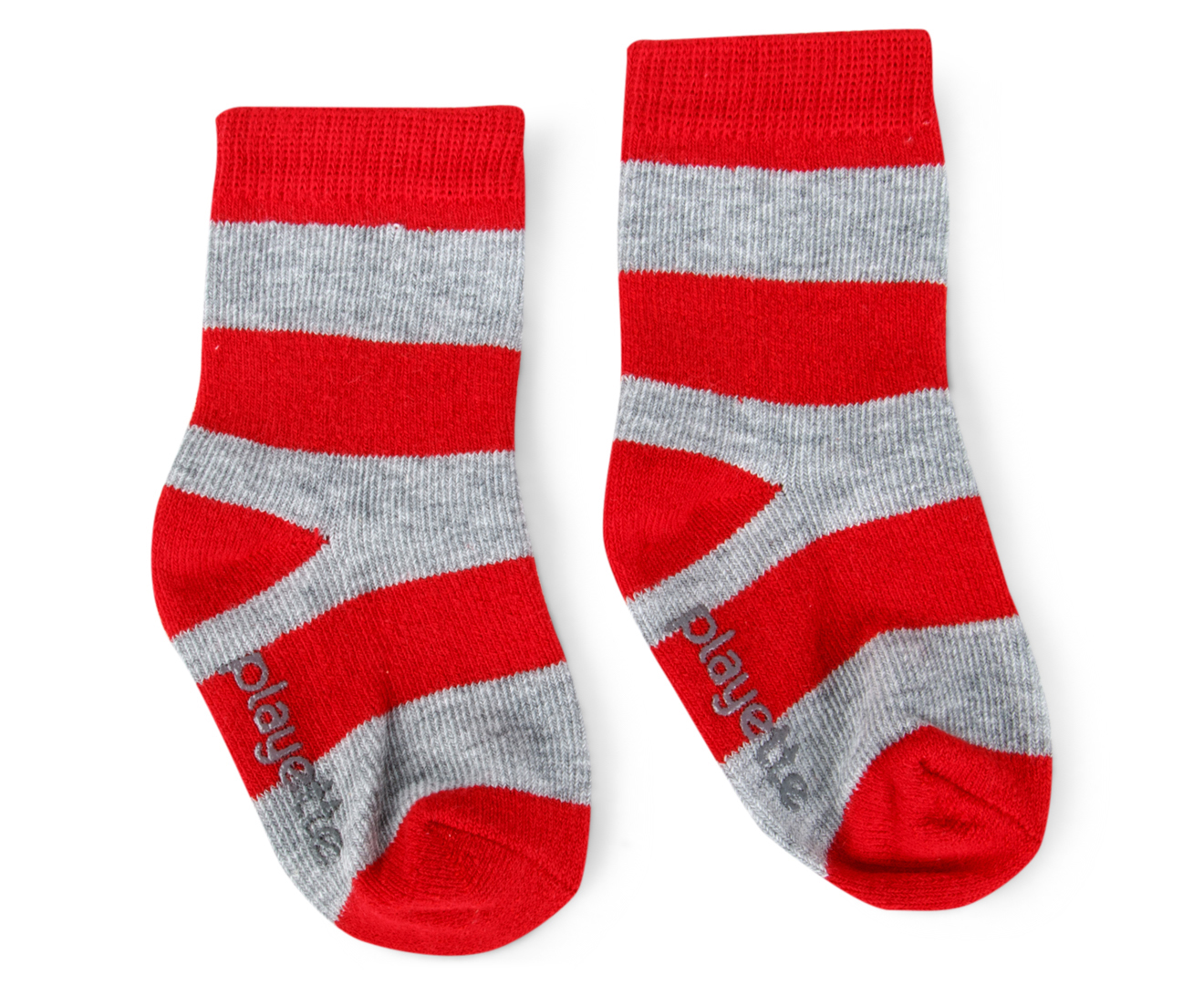 Playette Baby Stripe Socks 3 Pack Green Red Grey
