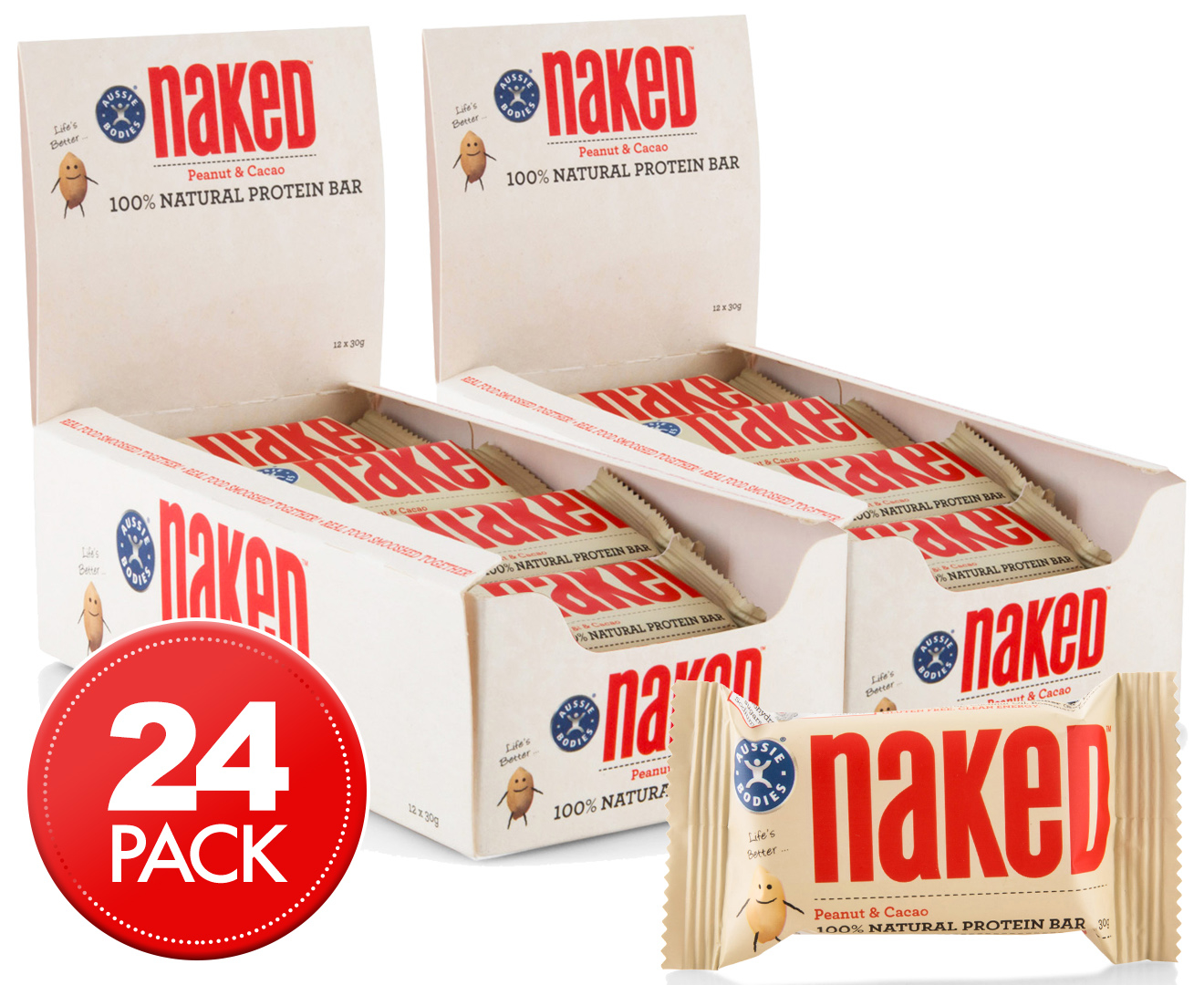 2 x Aussie Bodies Naked Natural Protein Bars Peanut