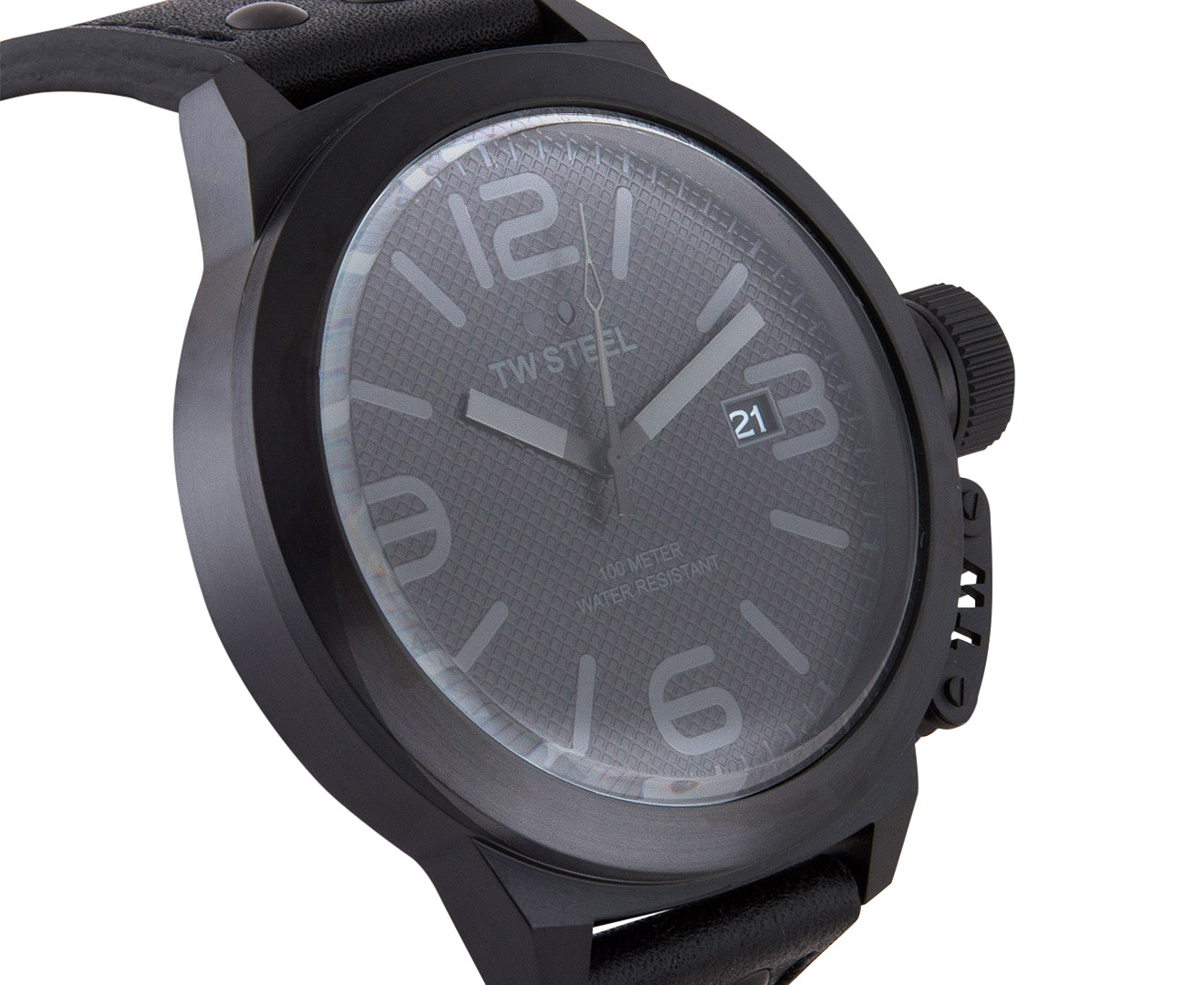 a7276ceb46a TW Steel 50mm Canteen Leather TW822 Watch - Black