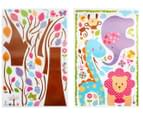 Kids' 210cm Wall Decal - Purple Elephant, Blue Giraffe & Pink Lion 2