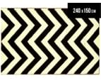 Chevron 240x150cm Recycled Outdoor Rug - Black/White 1