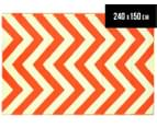 Chevron 240x150cm Recycled Outdoor Rug - Orange/White 1