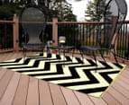 Chevron 240x150cm Recycled Outdoor Rug - Black/White 2