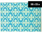 Cross 180x120cm Recycled Outdoor Rug - Blue/White 1