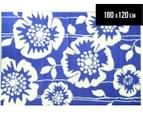 Floral 180x120cm Recycled Outdoor Rug - Navy/White 1