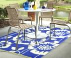 Floral 180x120cm Recycled Outdoor Rug - Navy/White 3