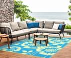 Floral 180x120cm Recycled Outdoor Rug - Blue/White 3