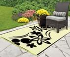 Flower 180x120cm Recycled Outdoor Rug - Black/White 4